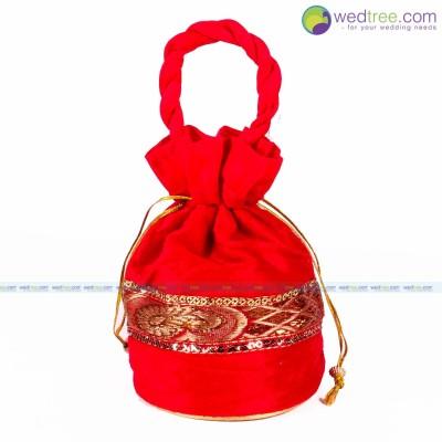 Potli Bag  - Potli bag made of velvette fabric with golden zari work return gift