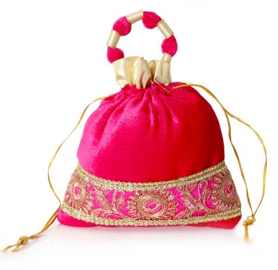 Potli Bag - Potli bag with Velvet rich golden zari and embroidery work  return gift
