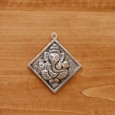 White Metal Pendant Ganesha Silver Oxidised Small return gift