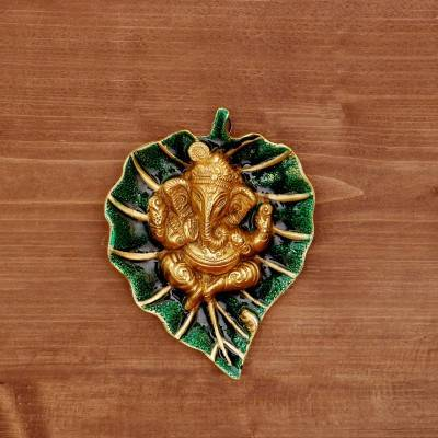 White metal leaf ganesha minakari green/red gold finish return gift
