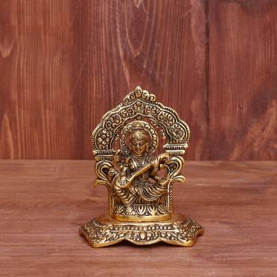 White Metal Saraswathi with Frame Gold Finish return gift