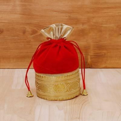 Potli Bag velvet with golden floral zari lace return gift