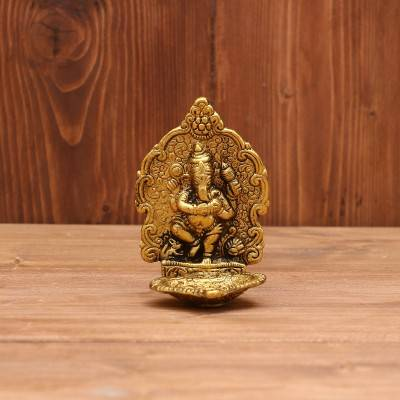 White metal Ganesh Diya gold finish return gift