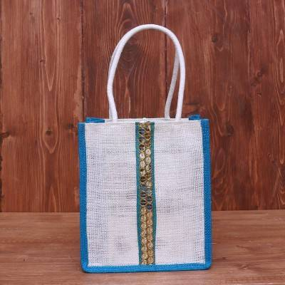 Jute Bag with Chamki lace work return gift
