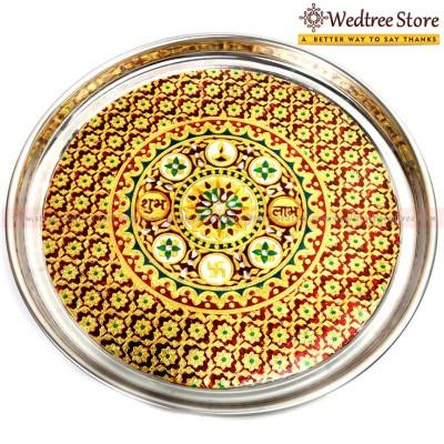 Round Plate - Stainless Steel round plate with minakari work.