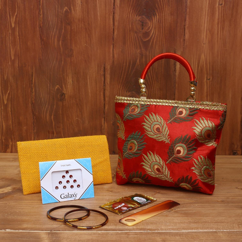 Gift Combo Jute Purse With Lock shape key hanger return gift
