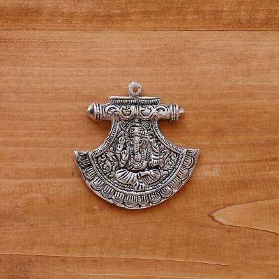 White metal pendant fan ganesha silver oxidised return gift