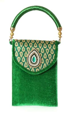 Mobile Pouch - Mobile Pouch made of velvette fabric with golden motif return gift