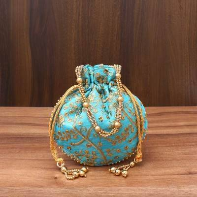 Raw Silk Potli Bag with Rich embroidery Work - Indian return gift
