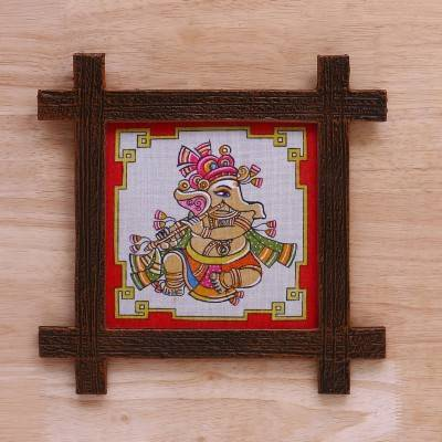 Wooden Wall Hanging - Jute Art Ganesha 11 x 11 return gift