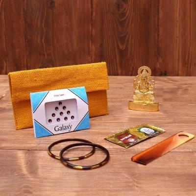 Gift Combo Jute Purse with Minakari 4 inch dabba stone work return gift
