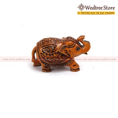 Wooden Elephant - Elephant carved in wood return gift