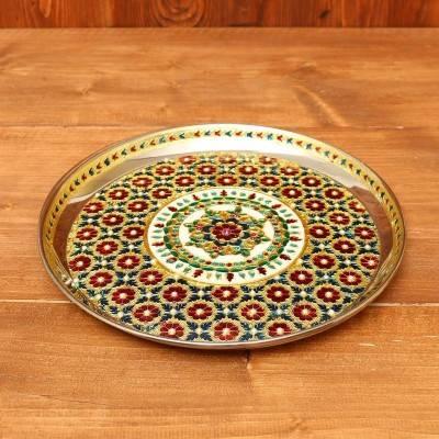 Minakari Plate 11 inch with stone work return gift