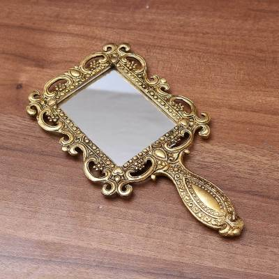 White Metal Hand Mirror with Gold Finish Medium - Indian return gift