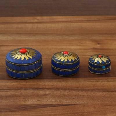 Round Kum Kum Box Set of 3 Indian return gift