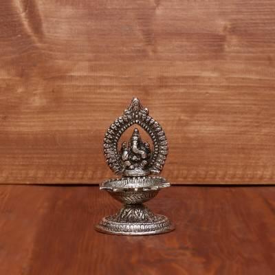 White Metal Oxidised Ganesha with Diya Small return gift