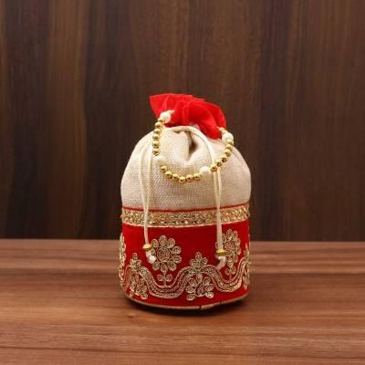Potli Bag with Velvet flower embroidery lace return gift