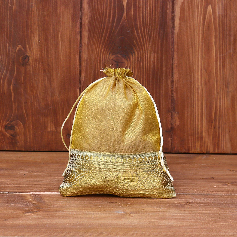 String bag golden tissue with zari lace return gift