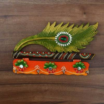 Paper Mache Key Hanger with Peacock feather & Flute - 9 inch Indian return gift