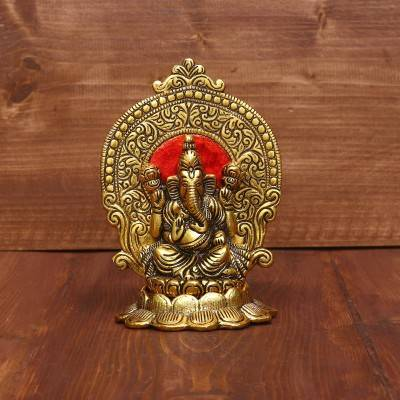 White Metal Ganesha on Lotus Gold Finish with enamel paint return gift