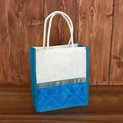 Jute Bag Raw Silk Border with Zari return gift