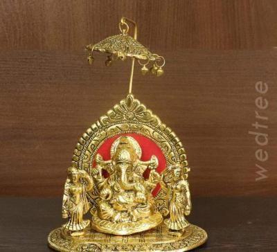 White metal gold finish Ganesha with Riddhi Siddhi return gift