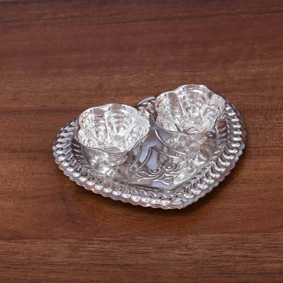 German Silver heart shaped kumkum holder with 2 cups return gift