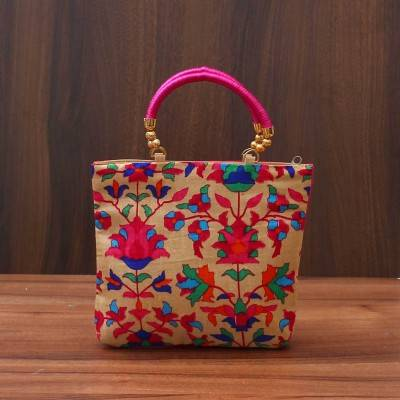 Hand Bag With Flower Print - Indian return gift