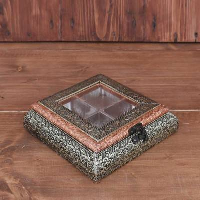 German Oxidised Transparent Dry Fruit Box 7 X 7 inch return gift