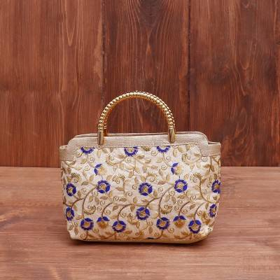 Hand bag multicolour floral thread embroidery return gift