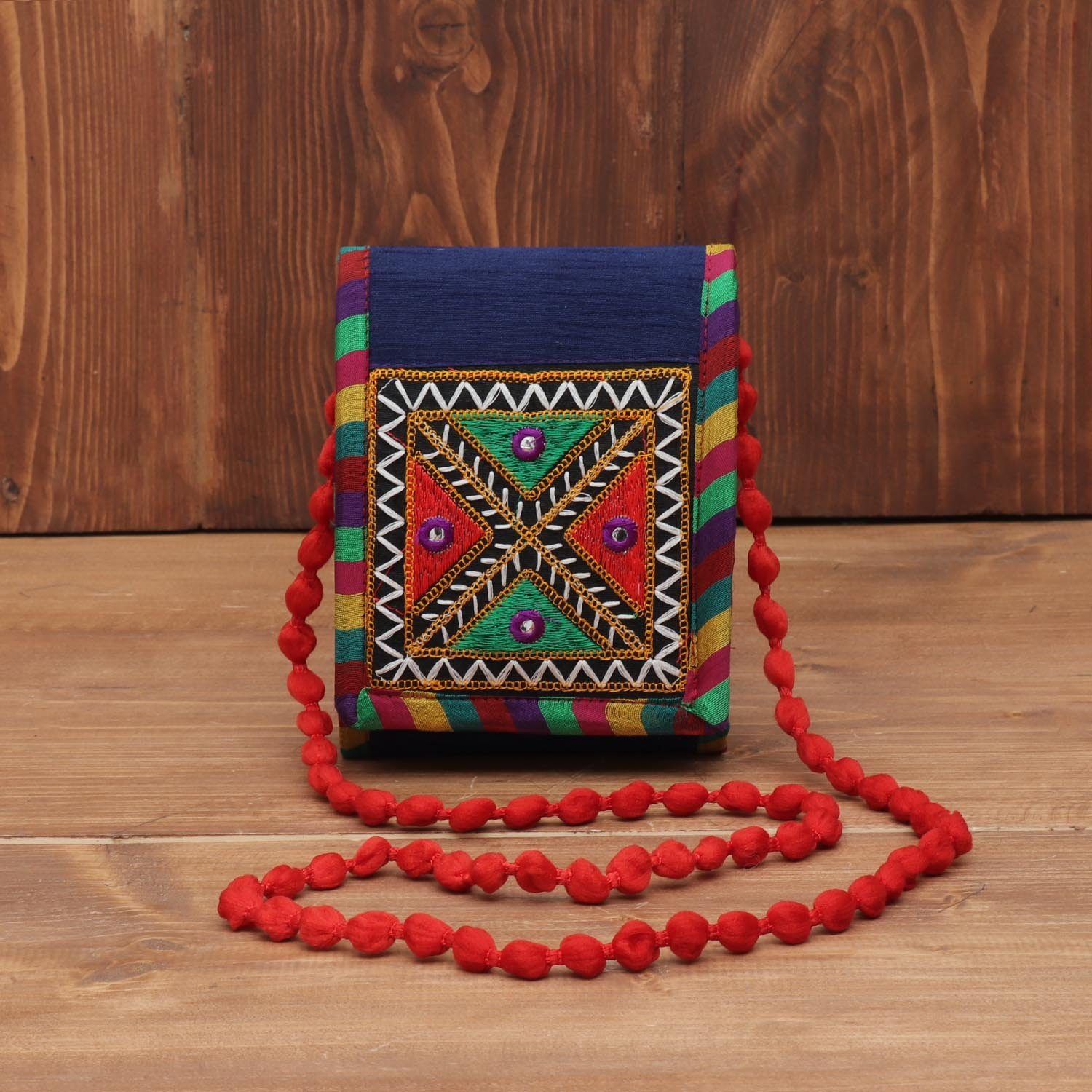 Raw Silk sling bag with thread embroidery return gift
