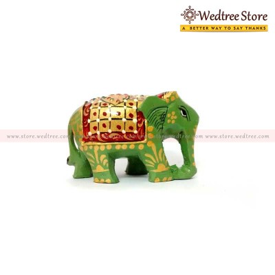 Wooden Painted - Hand carved elephant made from wood return gift