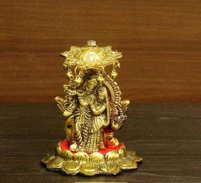White metal gold finish Radha Krishna with umbrella return gift