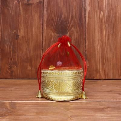 Potli bag netted tissue with zari border and round base return gift