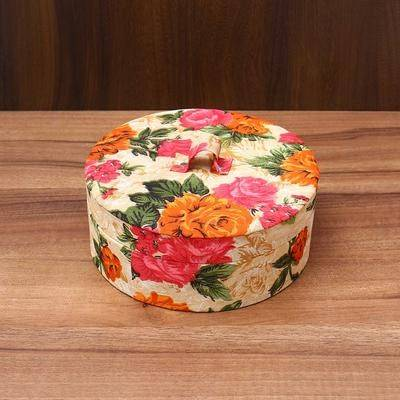 Round jewel Box with Floral Design - Indian return gift