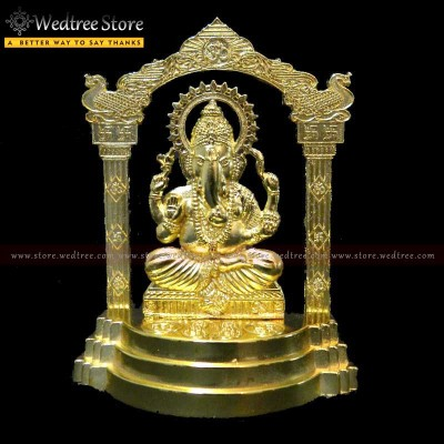 Frame - Murti ganesha made of zinc alloy with gold electro plating return gift