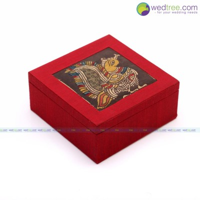 Gift box - Gift Box made of silk & kalamkari fabric return gift