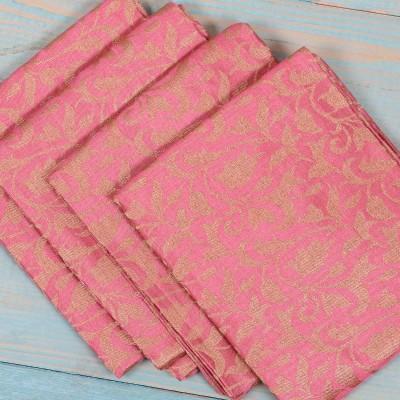 Brocade Blouse Bit - Brocade Blouse Bit Pink Floral Design - Pack of 10