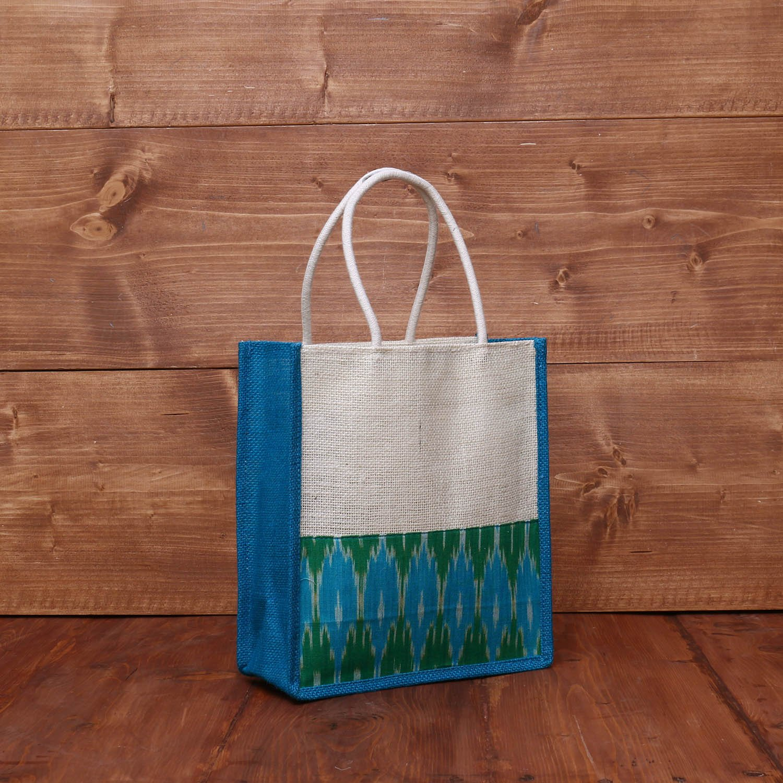 Jute Bag with Ikkat border 9 X 9 inch return gift