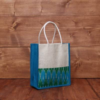 Jute Bag with Ikkat border 9 X 9 inch return gift