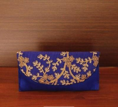 Raw silk clutch with embroidery work return gift