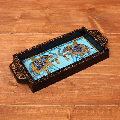 Wooden Hand Painted Tray 8 X 4 inch return gift