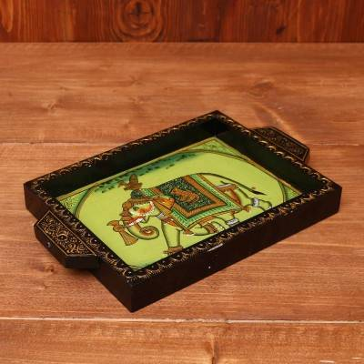 Wooden Hand Painted Tray 8 X 6 inch return gift