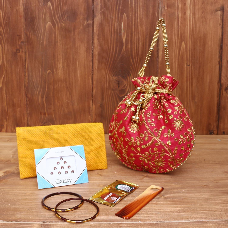 Gift Combo Jute Purse with Designer Kumkum Holder return gift