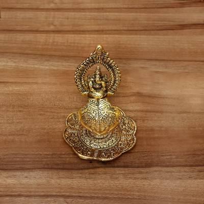 White Metal Ganesha with Hand Diya Gold Finish return gift