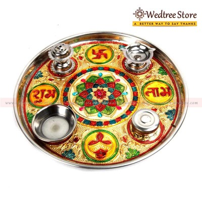 Pooja - Steel enameled pooja thali return gift