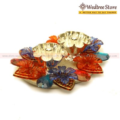 Diya - Floating diya double made of german silver and kundan stones return gift