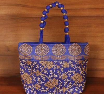 Designer hand bag golden embroidery with chamki work return gift