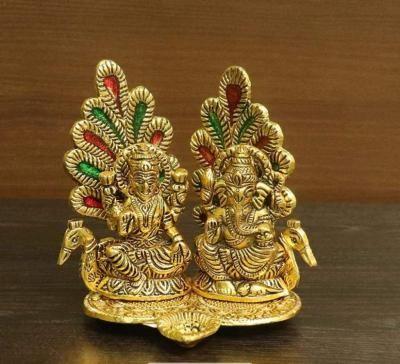 White metal gold finish Lakshmi Ganesha with Peacock return gift