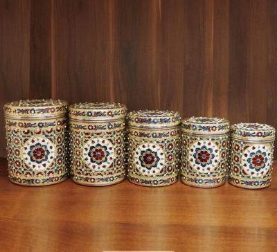Minakari Dabba set of 5 with stone work return gift